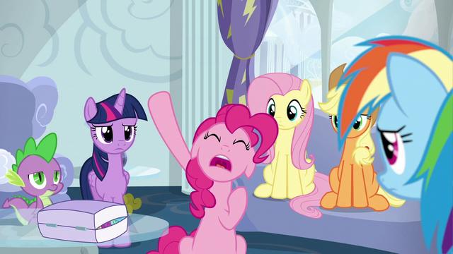 File:Pinkie Pie raising her hoof S6E7.png