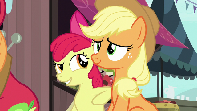 File:Apple Bloom poking Applejack with her elbow S7E13.png
