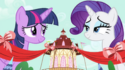 Twilight and Rarity smiling S4E13