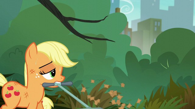 File:Applejack accidentally mows over her hat S5E16.png