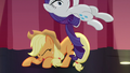 Applejack throwing Rarity off of her S7E14.png
