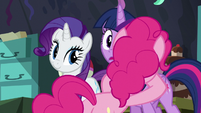 Pinkie hugs Twilight S5E11