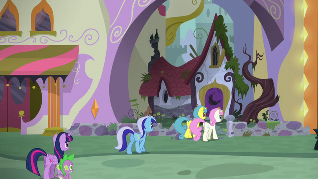 File:Twilight, Spike, and old friends arriving at Moon Dancer's home S5E12.png