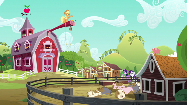 File:Applejack standing on a long wood beam S6E10.png
