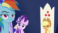 Rainbow, Starlight, and AJ looking at Spike S6E1.png