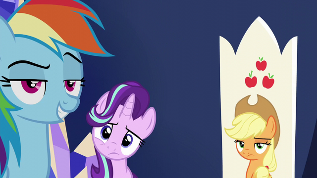 File:Rainbow, Starlight, and AJ looking at Spike S6E1.png