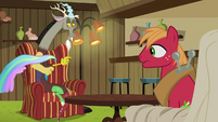 Cat made of Celestia's mane leaves Discord's lap S6E17