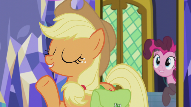 "File:Applejack ""it can't be how Pinkie's does it"" S5E20.png"