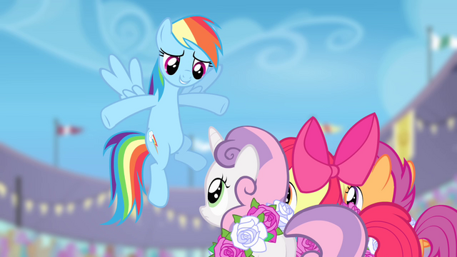 File:Rainbow Dash congratulates the Crusaders S4E05.png