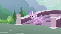 Diamond Tiara galloping across a bridge S5E18