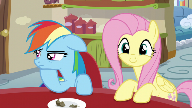 File:Rainbow beyond annoyed; Fluttershy excited S6E11.png