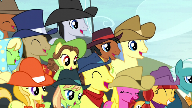 File:Spectator ponies laughing S5E6.png