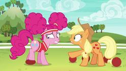 Applejack harshly coaching Pinkie Pie S6E18