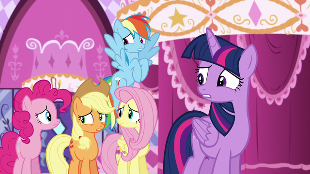 File:Rarity's friends worried about Rarity reading the newspaper S6E9.png