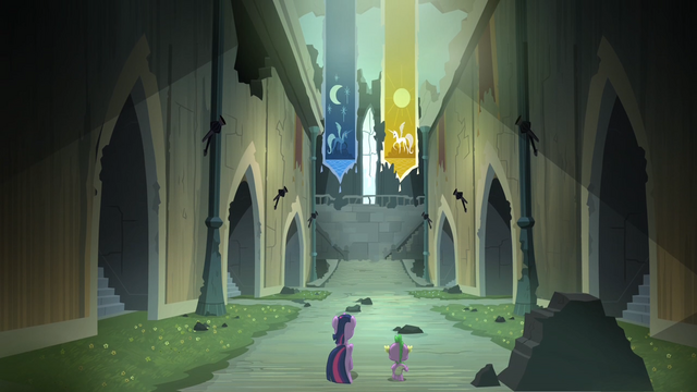 File:Twilight and Spike walking inside the castle S4E03.png