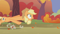 Applejack being dragged back near the finish line S1E13