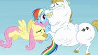 Fluttershy and Bulk hugging Rainbow S4E10