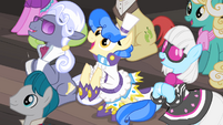 Hoity Toity, Sapphire Shores and Photo Finish clapping their hooves S4E08