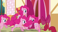 Pinkie Pie clones entering the town hall S3E03
