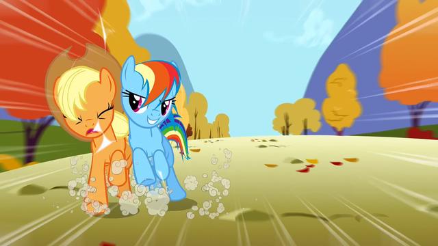 File:Rainbow Dash bumps Applejack S1E13.png