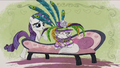 Rarity puts a feathery hat on Opal RPBB2.png