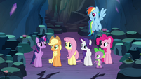 Twilight's friends looking at her S4E25