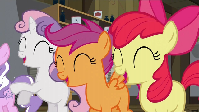 File:The Cutie Mark Crusaders laughing at Diamond Tiara S02E23.png