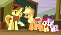 AJ, Braeburn, and CMC watch Silverstar leave S5E6.png