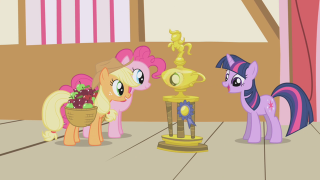 File:Applejack and Pinkie gazing at the trophy S1E04.png