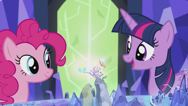 File:Pinkie and Rainbow's cutie marks spinning around Griffonstone S5E8.png