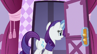 Rarity leaving the boutique sewing room S7E9