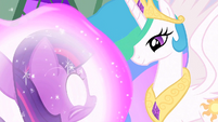 Celestia looking at filly Twilight S1E23