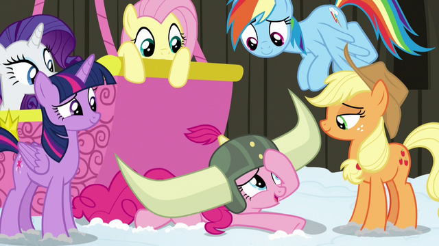 File:Pinkie Pie looking embarrassed at her friends S7E11.png