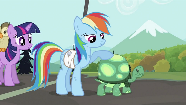 File:Rainbow Dash with Tank S2E07.png