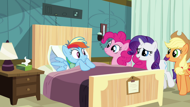 "File:Sweating Rainbow Dash ""how's our patient doing today"" S02E16.png"