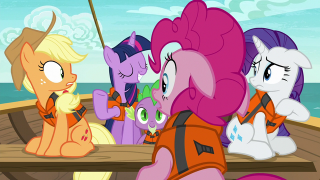 File:AJ, Pinkie, and Rarity look at Twilight surprised S6E22.png