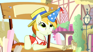 Banner vendor pony wearing party hat S4E12
