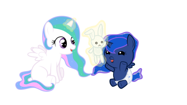 File:FANMADE Baby Celestia playing with baby Luna by darkalchemist15.png