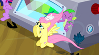 Fluttershy uncovering her eyes S2E22