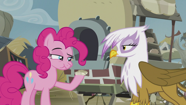 File:Pinkie eating Gilda's scone S5E8.png