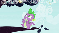 Spike bouncing on tree branch S4E16
