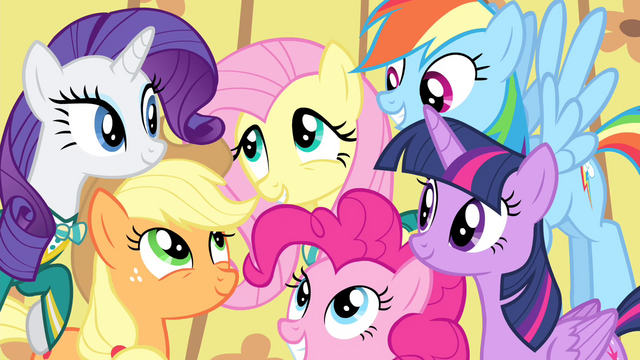 File:Fluttershy surrounded by her friends S4E14.png