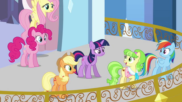 File:Main ponies and Peachbottom on the balcony S03E12.png
