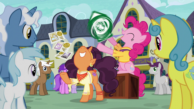 File:Pinkie Pie and Saffron happily advertising S6E12.png