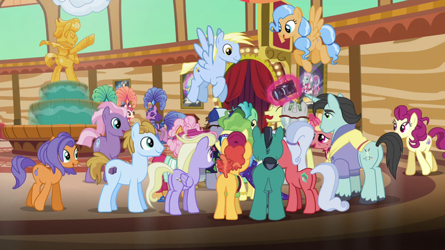 File:Ponies gathered around Impossibly Rich S6E20.png
