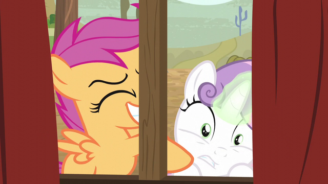 File:Scootaloo excitedly shaking Sweetie Belle S5E6.png