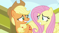 Applejack and Fluttershy arrive to Las Pegasus S6E20.png