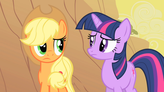 File:Applejack and Twilight considering Appleloosa's plight S1E21.png