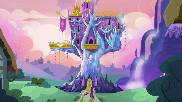 File:Twilight and Spike at the castle door at dawn S5E3.png