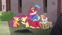 Apple Bloom asks Scootaloo if there's any sign of Feather Bangs S7E8